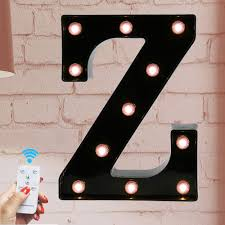 Battery Powered Light Up Letters Marquee Letter Sign Lights Light Up Black Z Letters Home Decor Name Signs Battery Operated Led Remote Timer Lighted Vintage Accessories