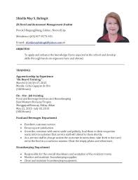 Sample Resume For Hotel And Restaurant Management Graduate