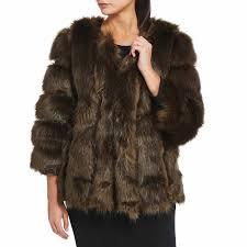 jayley collection khaki luxury faux fur silk blend coat