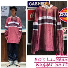 made in usa used 80 s l l bean l l bean bleach rugby shirt rugby shirt horizontal stripe 80s ll bean made in usa united states big size united