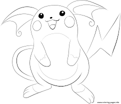 Coloring Pages For Kids Pokemon Raichu Printable Coloring Page For