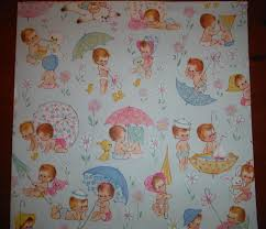Adorable Vintage Baby Shower Wrapping Paper - 1960\u0027s New Baby Girl ...