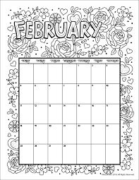 February 2018 Coloring Calendar Page Woo Jr Kids Activities