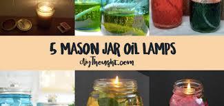 5 mason jar oil lamps