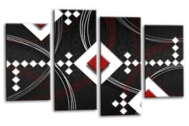 black white grey red abstract diamond stripes canvas wall art picture print multi panel  on grey red wall art with abstract black diamonds canvas wall art