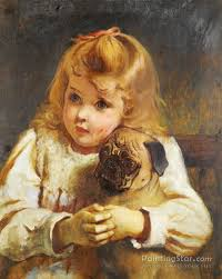 concern girl with a pug artwork by charles burton barber