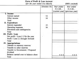 Profit And Loss Account Specimen Of Profit And Loss Account India Banking Companies
