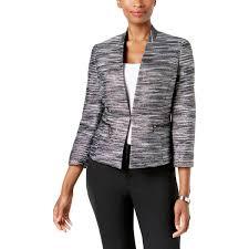kasper womens petites metallic 3 4 sleeves tweed jacket 0