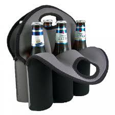 bottle tote black neoprene 6 pack