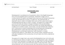 intertextuality essay macbeth the intertextuality of macbeth and  document image preview