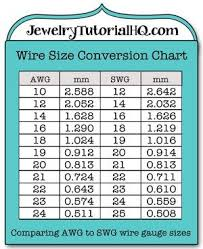 Jewelry Wire Wire Gauge Size Conversion Chart Comparing