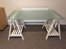 large glass desk table top and pair ikea finnvard trestles only 40 for quick