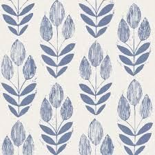 Scandinavian Tulip Wallpaper, Blue, Bolt scandinavian-wallpaper