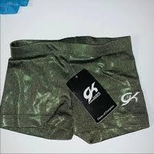 Gk Elite Green Hologram Gymnastic Shorts Sz Cm 6 Nwt