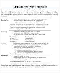 critical analysis sample example format critical analysis sample