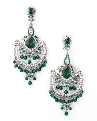 green white crystal chandelier earrings