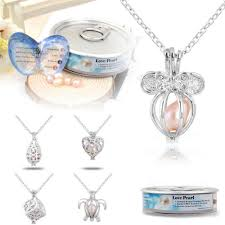 details about pearl cage locket pendant charms for diy akoya oyster pearl necklaces chain gift