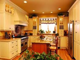 modest homey country kitchen combine elegant white furniture also small cream marble table on wooden laminate floor antique curtains