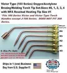 Brazing Tip Chart Victor Brazing Torch Tips Type Series Oxygen Acetylene