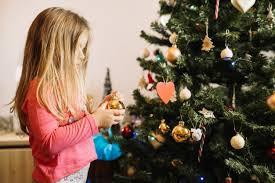 Girl Decorating Christmas Tree Photo Free Download