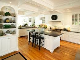 Kitchen, Awesome Open Kitchen Ideas With Traditional Kitchen Style Design  Cabinets And Black Countertops Combination