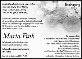 Traueranzeigen von Marta Fink | franken-gedenkt.de