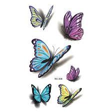 Beauty Women Waterproof Henna Tatoo Selfie Fake Tattoo Sticker Colorful Butterfly 3d Temporary Tattoo Body Art Flash Tattoo Stickers