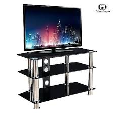 black 3 tier shelves tempered glass stand for plasma tv
