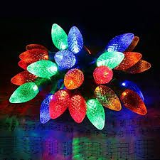outdoor christmas lighting. [Commercial Grade]Outdoor Led Decorative String Lights,13 Ft 25 C7 Bulb,Colored Christmas Lights,Wedding Party Garden Festive Mood Lighting To Bright Outdoor