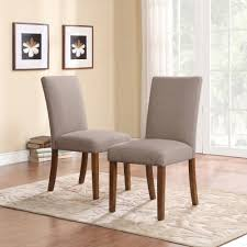 transitional dining chair sch: dorel living linen parsons chair set of  dark pine with gray seats walmartcom