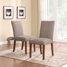 dorel living linen parsons chair set of 2 dark pine with gray seats walmart