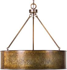 uttermost 22067 wolcott retro golden galvanized drum pendant light fixture loading zoom