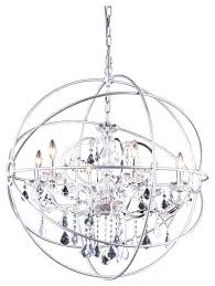 chrome crystal orb chandelier designs polished