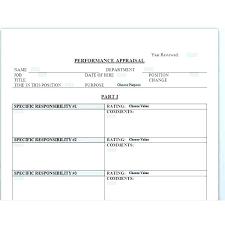 Performance Appraisal Sample Wording Pdf Employee Review Template
