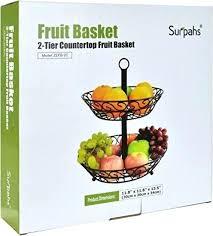 countertop fruit basket 2 tier stand