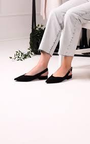 Hilda Black Suede Sling Back Pumps With Pointed Toe | Linzi | SilkFred UAE