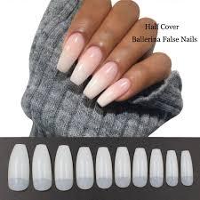500pcs Coffin Nails Half Cover Ballerina Nail Tips False Artificial Acrylic Nails Half Natural
