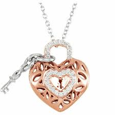details about 10k rose gold 1 6 ctw diamond key to my heart 18 necklace