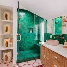 Inside A Bathroom Makeover With Bright Green Tiles