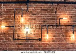 rustic interior lighting. Interior Design Of Vintage Wall. Rustic Design, Brick Wall With Light Bulbs And Pipes Lighting S