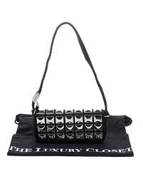 chanel black jersey cc pyramid stud flap shoulder bag lyst