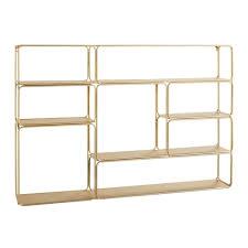 gold metal wall mount shelving unit