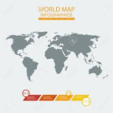 Vector World Map Chart Continent Mainland Infographics Flat