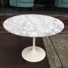 Mid-Century Modern, painted white, cast aluminum, tulip table base with 42
