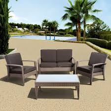 atlantic contemporary lifestyle florida deluxe 4 piece all weather wicker patio conversation set with