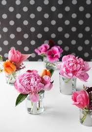 pink peonies diy mirrored glass mini vases