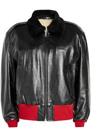 nice women calvin klein 205w39nyc leather jacket with shearling collar and lining color black