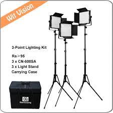 600led 5600k portable led panels studio lighting kit ra 95 for photography broadcasting and