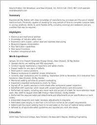 Resume For Welding Fabricator Welder Cv Sample Well Concept Cv