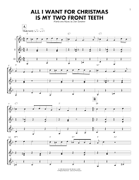 all i want for christmas is my two front teeth sheet music all i want for christmas is my two front teeth sheet music by spike